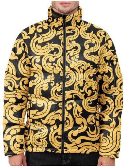 I Am Dope - Gold Pattern Puffer Jacket