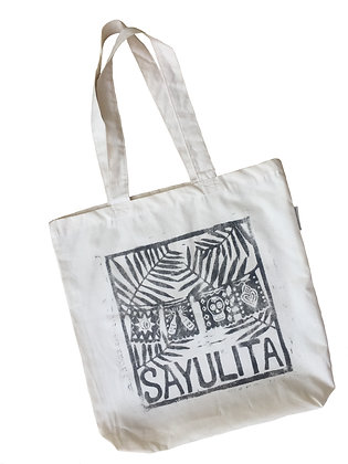Sayulita Palm tree design Organic Cotton tote Bag
