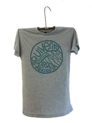 T-Shirt Block Printed with Turquoise Wave Design Sayulita Mexico