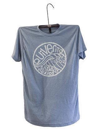 T-shirt hand printed with Quiverito Sayulita Mexico wave design