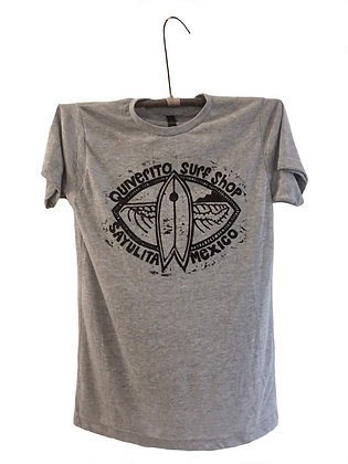 Hand printed T-Shirt with fish surfboard surf shop Sayulita Mexico