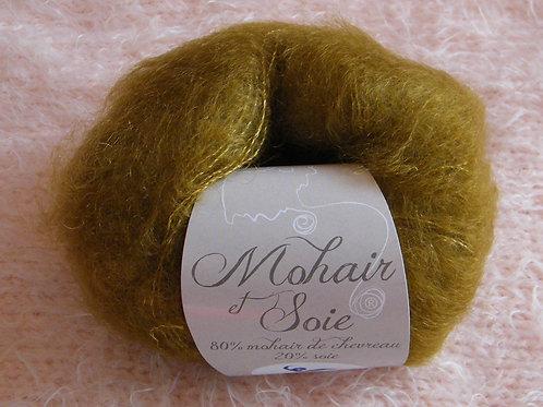 """Pelote Mohair et Soie """"Vieil Or"""""""