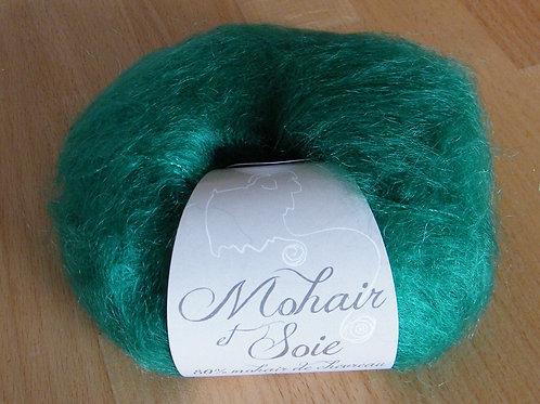 """Pelote Mohair et Soie """"Vert Perroquet"""""""