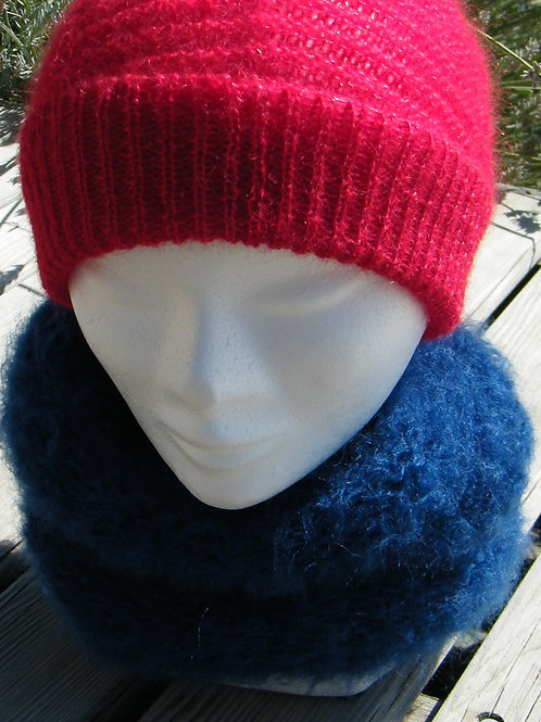 "Snood Mohair ""bleu Hollandais"""