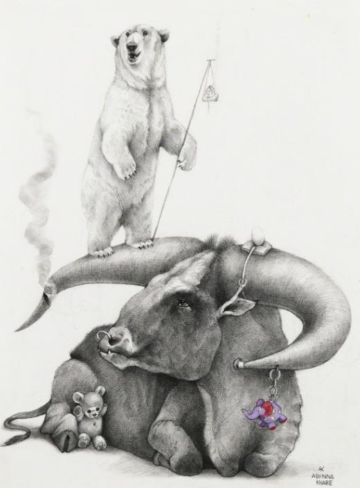 Bull with Polar Bear (2019) _ Adonna Kha
