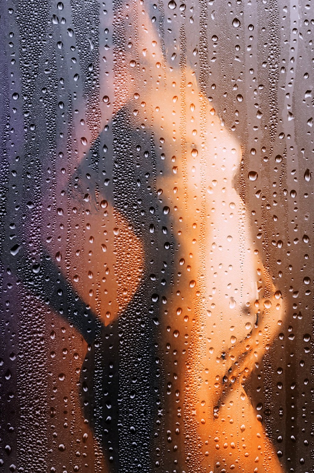 A woman masturbating in the shower