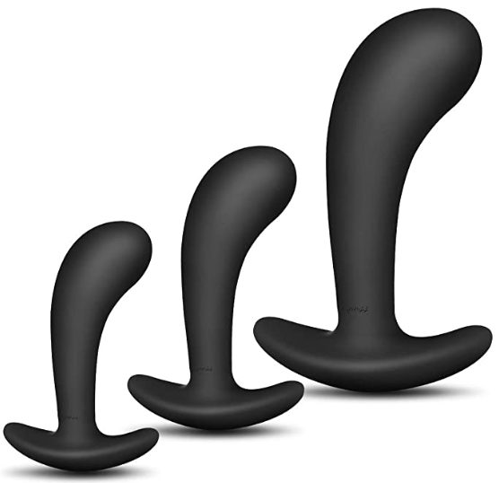 A variety of black butt plugs