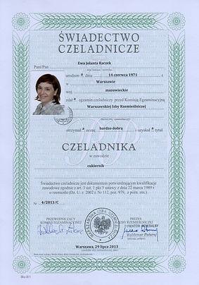 Dyplom Czeladnika Ewa Raczek Torty Piaseczno