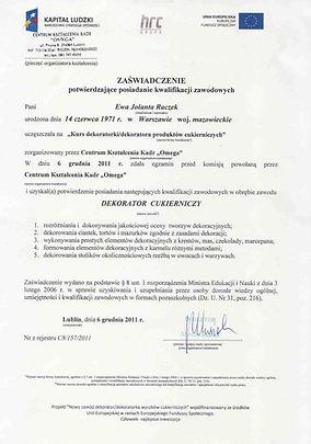 Certyfikat - dekoratora cukierniczego. Torty Piaseczno