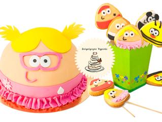 Zestaw urodzinowy Pou i ciasteczka Pou.