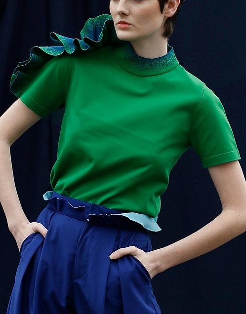 Ruffled Short Sleeve Knit Top