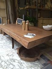 table basse, métal et bois,
