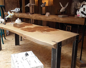 table basse, métal et bois, meuble, mobilier, artisanal, industriel, châtaignier