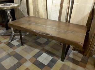 table basse, métal et bois, doucié, mobilier, artisanal, meuble , industriel