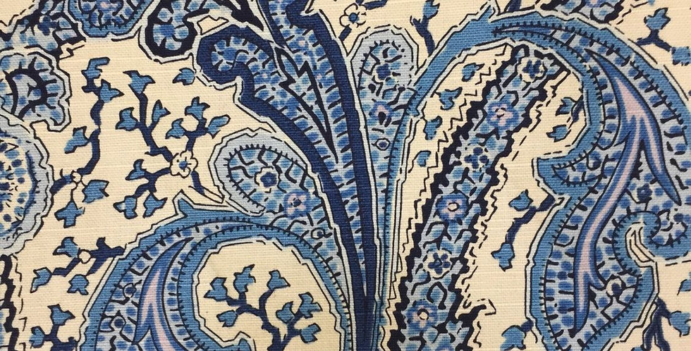 Blue and Off White Paisley
