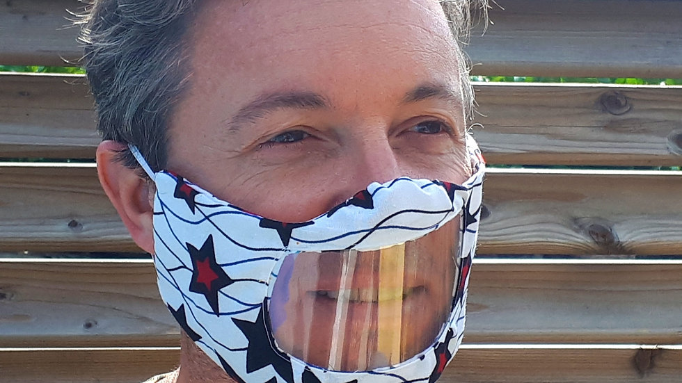 Masque facial inclusif avec fenêtre transparente en wax