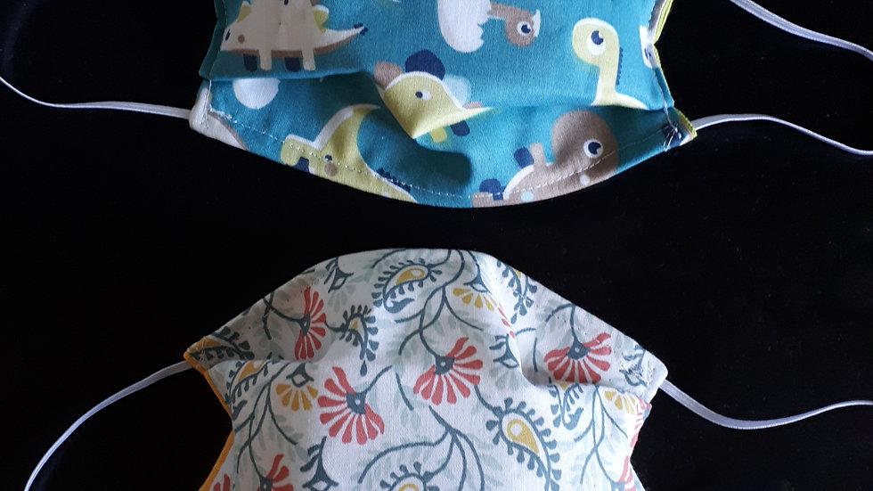 Masque grand public ENFANT en tissu modèle AFNOR 3 couches dinosaures ou fleurs