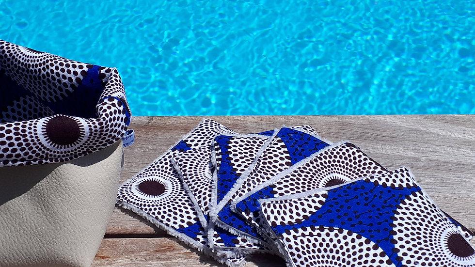 Lingettes lavables wax cercles fond bleu et bambou