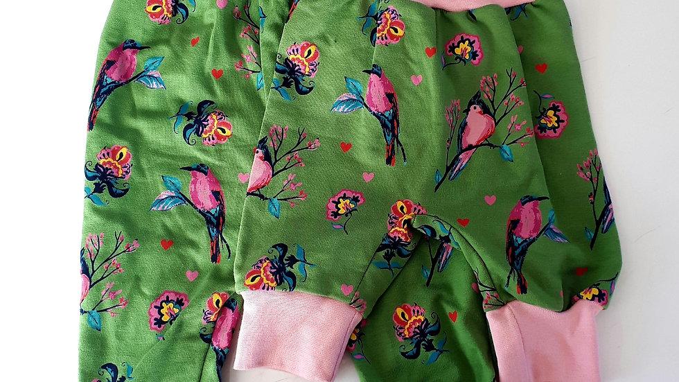Sarouel jersey coton biologique bouclettes oiseaux