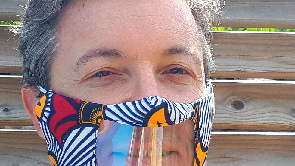 Masque facial inclusif avec fenêtre transparente en wax fleurs de mariage