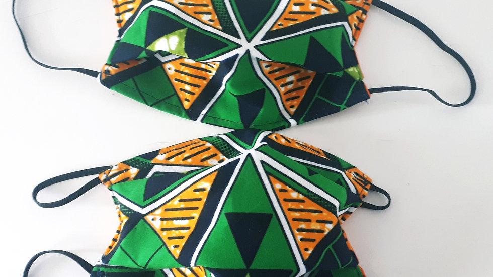 Masque grand public en wax vert et orange modèle AFNOR 3 couches