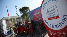 "UNICEF and the Municipality of Tirana inaugurated the fifth ""Friendly Wi-Fi"" zone at Skanderbeg Squa"