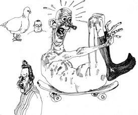 Naked skateboarder doodle