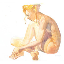 Watercolor figure study