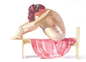 Watercolor figure study