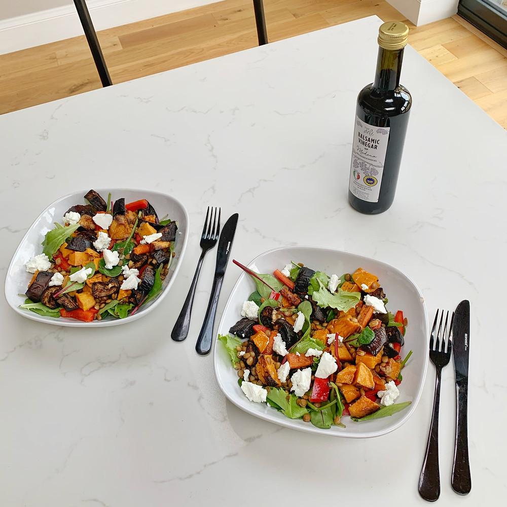 Roasted vegetable salad with balsamic vinegar