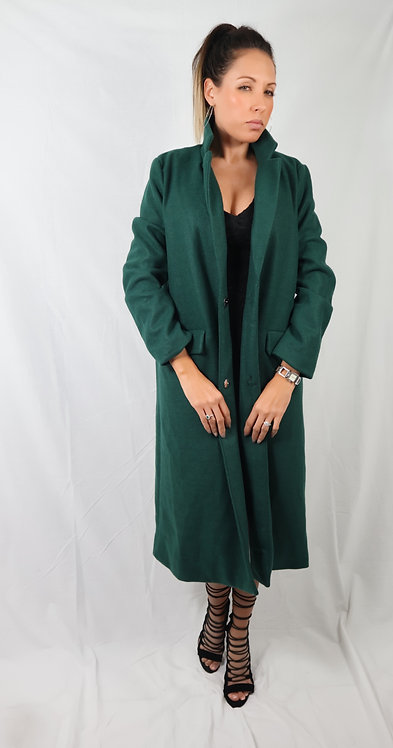 Green Longline Double Breasted Coat