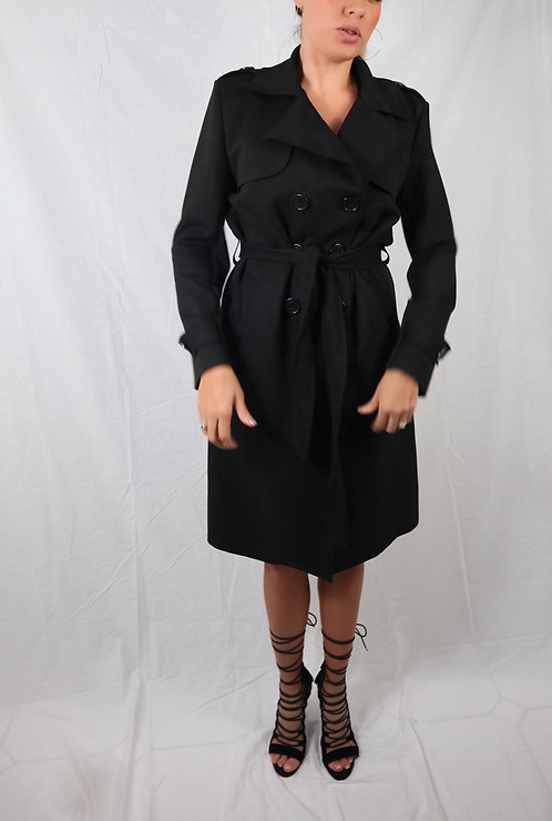 Black suede Trench