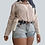 Thumbnail: Light Blue Wash Distressed Denim Shorts