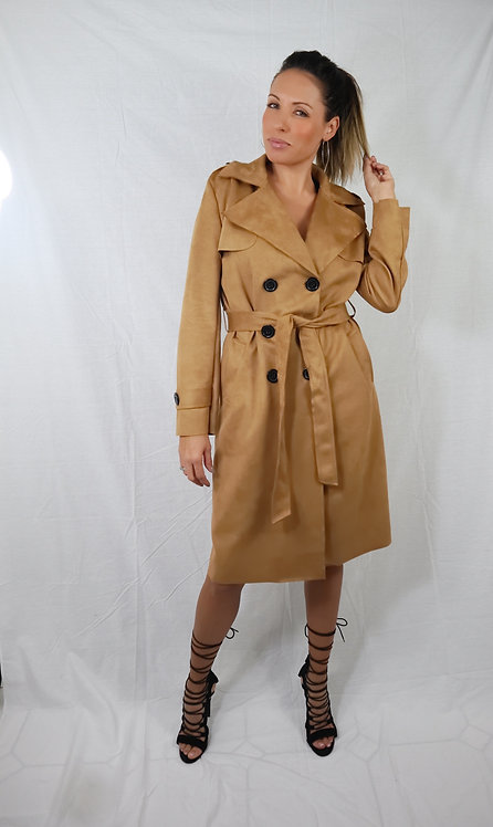 Camel Suede Trench