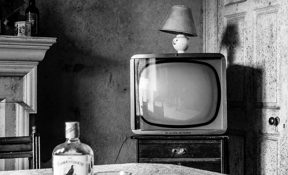 télévision noir et blanc rétro vintage