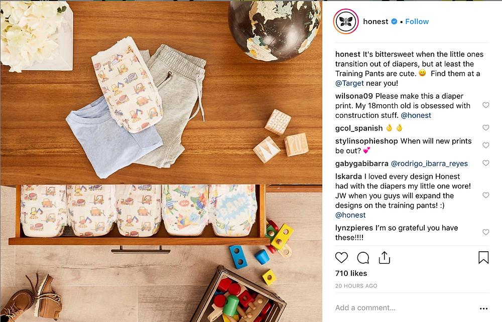 instagram content example - honest company