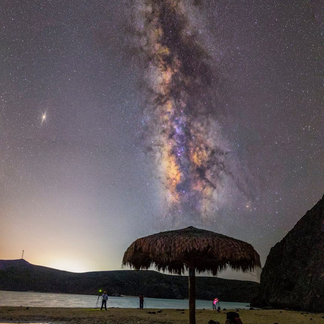Palapa y Vía Láctea Balandra