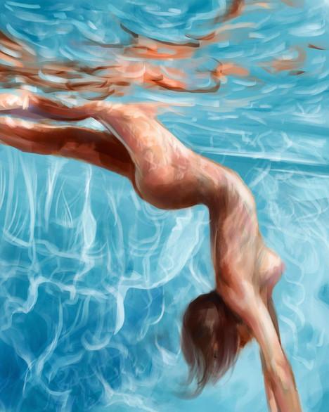 digital painting pool figure human