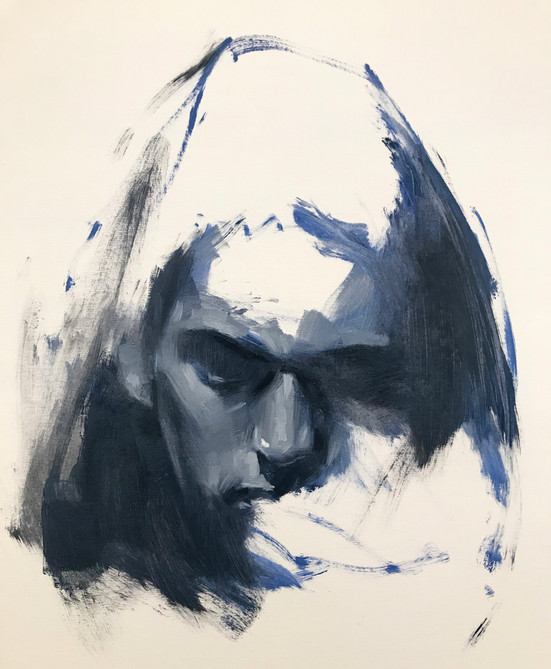 blue oil painting