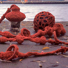 Doug Guildford, Canadian visual artist, queer artist, Intertidal zone, crocheted sculpture, fabricated evidence