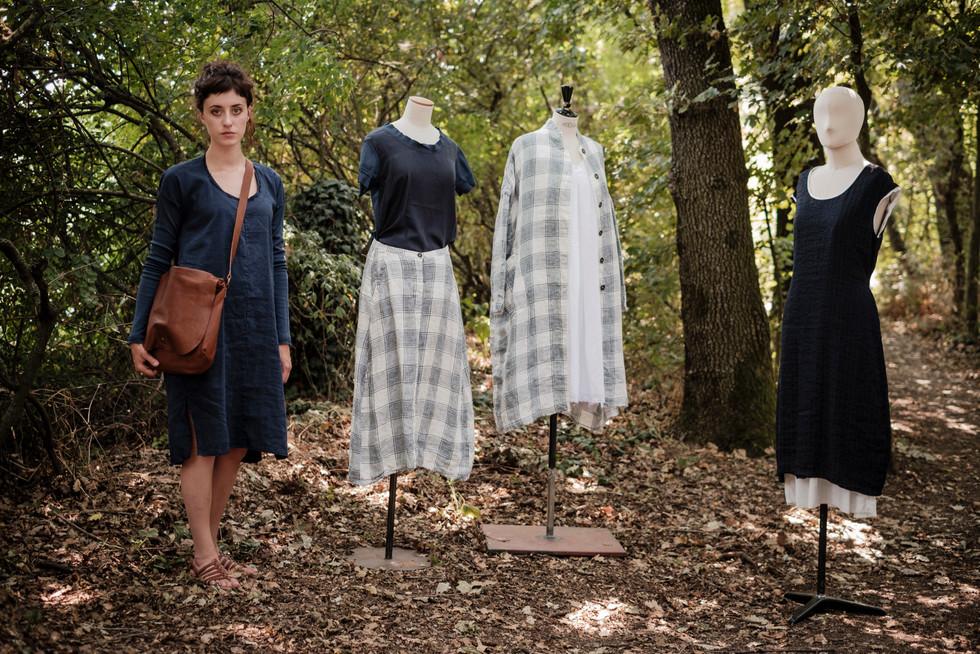 19112 - linen silk dress Rosalba 19905 - leather bag Sara 19184 - silk t-shirt Tamara 19109 - linen skirt Jacqueline 19106 - linen coat Maria 19182 - silk dress Roselyne 19102 - linen viscose dress Radegonde