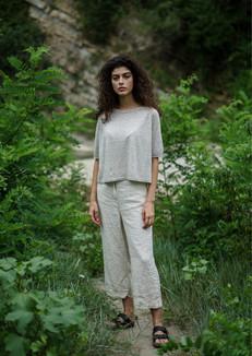 S2033-linen/cotton roundneck pullover