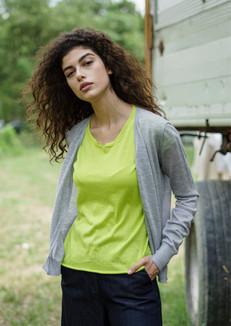 S2007-fine cashmere cardigan S2010-cotton t-shirt