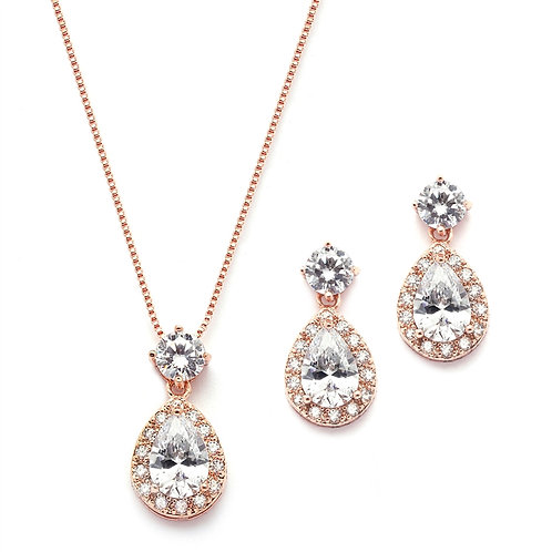 Pearl Drop Necklace Set with Vintage CZ Top and Dainty Earrings