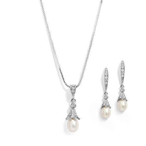 Silver Rhodium Plated Necklace & Earrings Jewelry Set with Freshwater Pearl