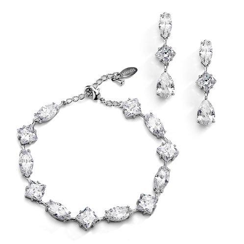 Elegant Cubic Zirconia Multi-Shape Bridal Bracelet and Earrings Set in Rhodium