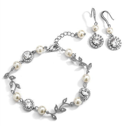 Pearl and CZ Vine Bridal Bracelet and Earrings Set