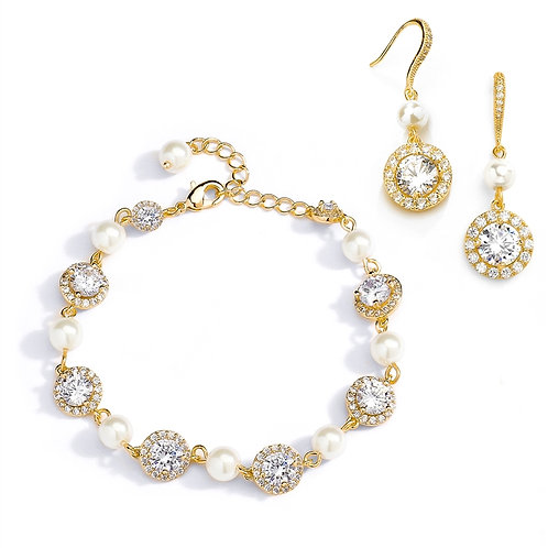 Classic Cubic Zirconia Bridal Earrings with Framed Pear Drops