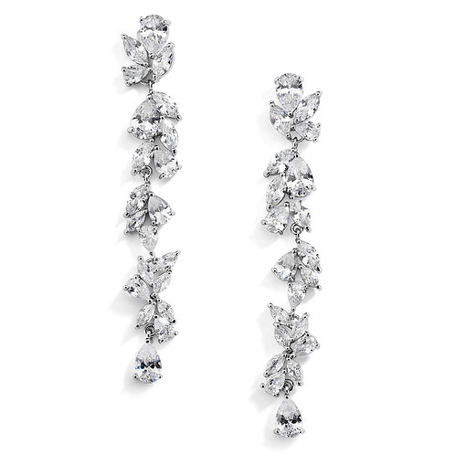 Cubic Zirconia Long Statement Wedding Dangle Earrings