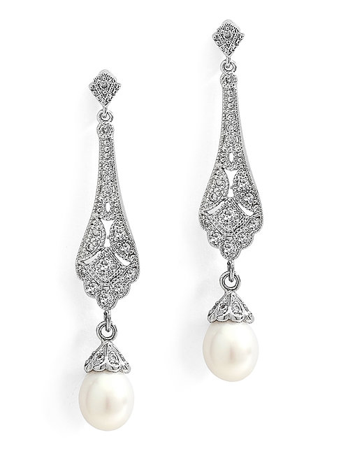 Art Deco CZ Bridal Earrings with Freshwater Pearl
